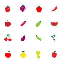Vegetable And Fruit icon color set
