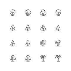 Simple lineart trees icons. Vector landscape line symbols. Isolated plant signs
