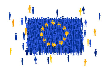 Vector European Union state flag formed by crowd of cartoon people