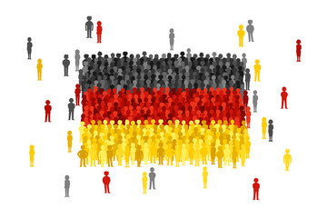 Vector Germany state flag formed by crowd of cartoon people