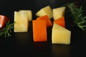 Piece and slices of cheese