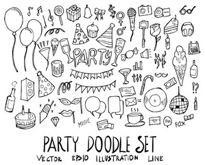 Set of Party illustration Hand drawn doodle Sketch line vector eps10