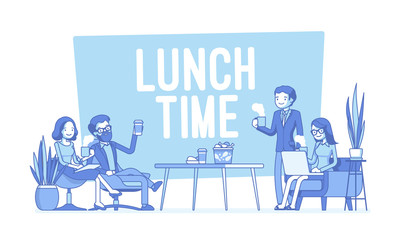 Lunch time in the office. Lineart concept illustration