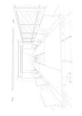interior outline sketch drawing perspective office of a space office Workplace cafeteria