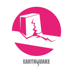 vector Earthquake Insurance icon with damaged house isolated on white background. Natural disaster sign or symbol