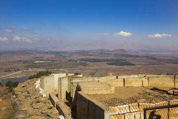 Fortifications in the Golan Heights and a view from above of Mount Bental, Israel