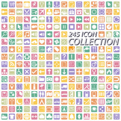 big colored business icon collection