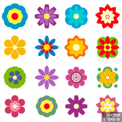 Seth flowers. Isolated on white background. Different. simple flat style.