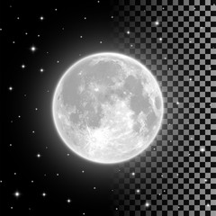 Bright full moon in the clear night sky and isolated on transparent background. Realistic full moon vector illustration. Selena, luna, lunar month, moonlight themed design element.