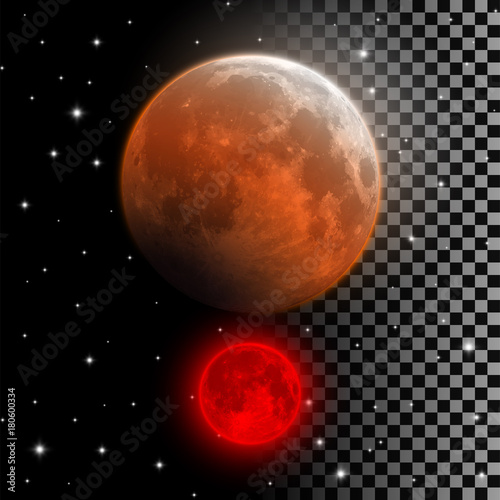 realistic blood moon vector illustration red and orange full moon