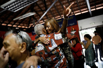 "Senior citizens dance at a party at ""Instituto Da Melhor Idade, Estacao Vida"" in Sao Paulo"