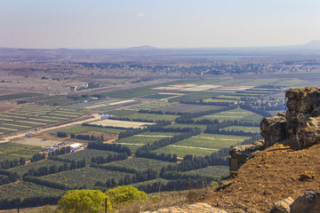 View from the Bental mountain and fortifications on the Golan Heights, Israel