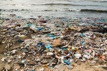 Polluted beach in a fishing village in Vietnam, environmental pollution concept