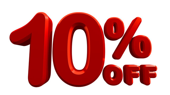 3d rendering of 10 percent off in white background. Special Offer 10% Discount Tag. Sale Up to 10 Percent Off