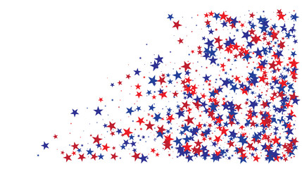 American national colors square vector background, festive pattern with flying, falling red, blue, white stars in colors of the United States' flag. Independence Day banner, bright star dust confetti