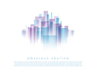 Abstract corporate business cityscape vector background with transparent shapes. Modern urban skyline with geometric shapes.