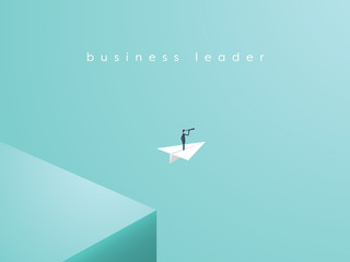 Business leader leaving comfort zone on a paper plane. Business vector concept of adventure, opportunity, entrepreneurship.