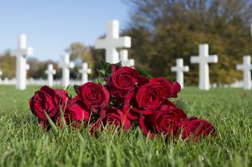 Photo on textile frame Flower shop de Amerikaanse Begraafplaats en MonumentHenri-Chapelle