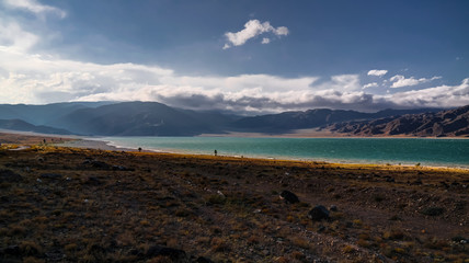 Panoramic view to Orto-Tokoy Reservoir at Chu river, Naryn, Kyrgyzstan