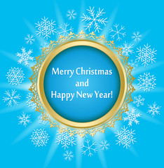 blue vector greeting card for christmas with round ornamental frame