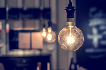 Vintage light bulb and copy space.