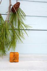 Orange christmas present - Vertical
