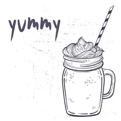 Hand drawn sketch illustration with smoothie mason jar.