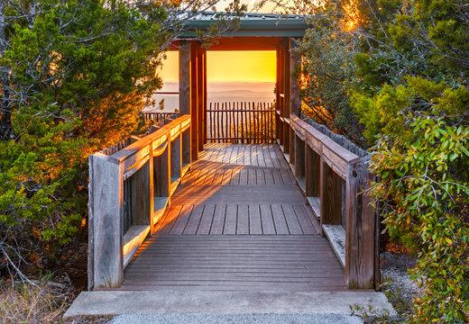 The sun sets over Warbler Vista overlook in Lago Vista, Texas