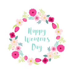Cute hand drawn International Women's Day sale banner as rustic wreath with different first spring flowers