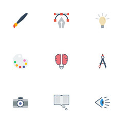 Flat Icons Concept, Eye, Science And Other Vector Elements. Set Of Original Flat Icons Symbols Also Includes Compasses, Light, Draw Objects.
