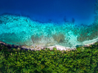Tropical island beach paradise, aerial top down view of turquoise water and lush vegetation at secluded white sand beach.