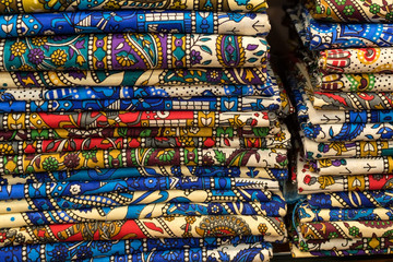 Textile and cloth on oriental market