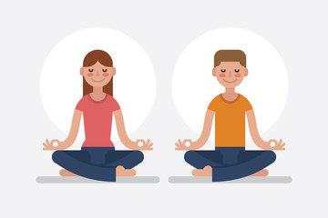 Young man and woman meditating in lotus pose.