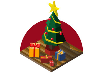 Christmas tree and gifts isometric vector illustration