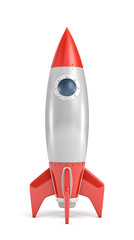 3d rendering of a single silver and red rocket ship with a round porthole isolated on a white background.