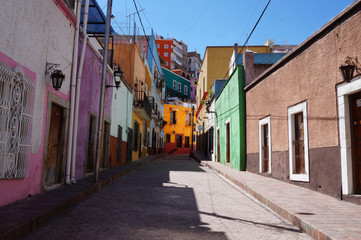 Guanajuato Mexico November 2017, Colonial colourful narrow street in the town's center.