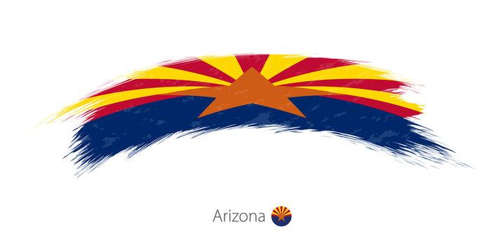 Flag of Arizona in rounded grunge brush stroke.