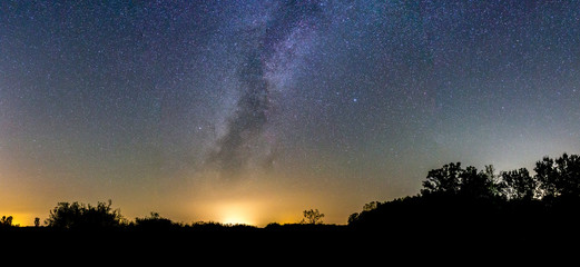 Night Sky Panorama with Milky Way Rising