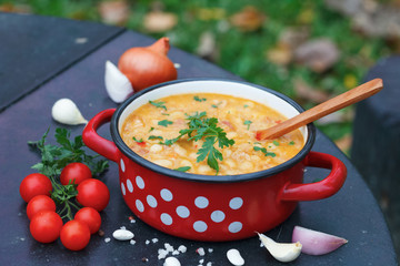 Traditional homemade thick kidney bean soup in red pot