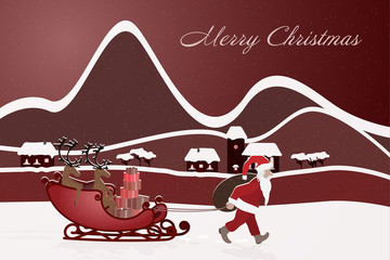 Christmas time. Santa pulls his reindeer on the sledge behind him. Winter landscape. Text: Merry Christmas