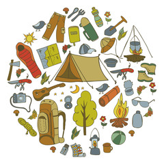 Set of hand drawn sketch camping equipment symbols and icons. Vector illustration.