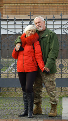 Portrait of a loving elderly couple
