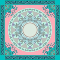 Ethnic bandana print in pink and emerald tones. Mandalas and paisley frames. Indian, thai, persian, turkish motives. Beautiful vector illustration.