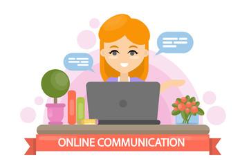 Online communication illustration.