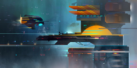 Painted a dark fantastic landscape. The spaceport in the style of cyberpunk.