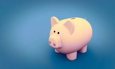 Piggy coin bank on blue background, financial security or personal funds concept. 3d render