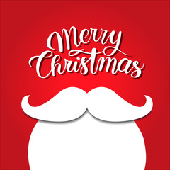 White beard on red background. Merry christmas concept. Santa mustache. New year holidays