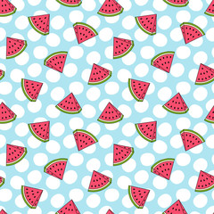 Watermelon Seamless Pattern, Vector illustration