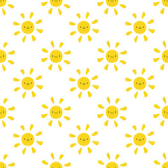 Cute Sun Seamless Pattern Background, Vector illustration