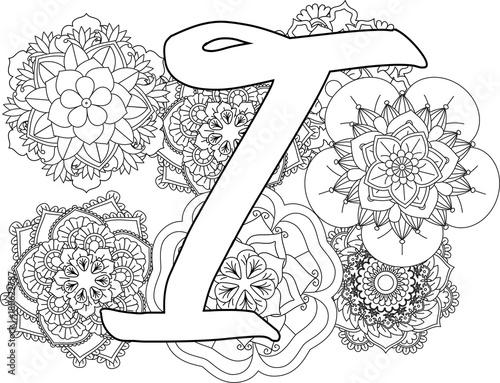 Mandala I Monogramlogo Doodle Floral Letters Coloring Book For Adult
